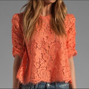 Joie Fanny Scalloped Lace Blouse